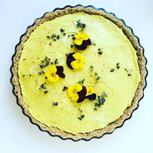 Raw golden turmeric tart Base Brazil nuts dedicated coconut dateshellip