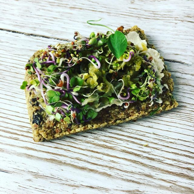 Raw open toastie topped with cultured cashew cheese Kale andhellip
